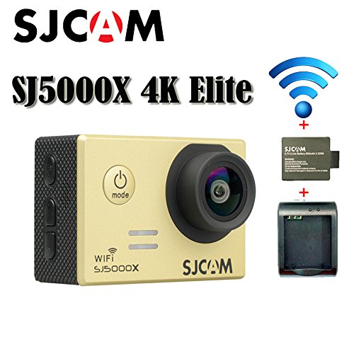 16GB TF Card+SJCAM SJ5000X Elite Sports Action Camera Ultra-HD 2.0 Inch LTPS WiFi 4K 24fps Sport DV 2.0 LCD NTK96660 Diving 30m Waterproof Action Camera+1pcs Battery Charger+1pcs Extra Battery(Gold)