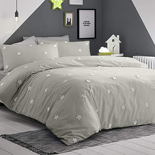 Appletree - Set copripiumino per bambini, con stella trapuntata, 100% cotone, per letto matrimoniale, colore: Argento con stelle bianche