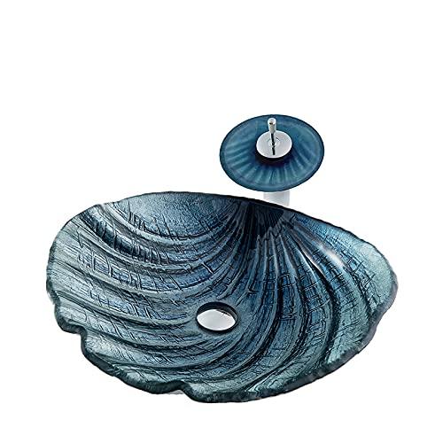 GLYYRLR Lavabo Cristal Templado Forma de Concha Lavabo sobre Encimera Azul Oscuro...