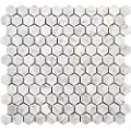 Diflart Carrara Italian White Bianco Carrera 1 Inch Hexagon Marble Mosaic Tile Polished Backsplash Tiles for Kitchen Bathroom Wall Floor Pack of 5