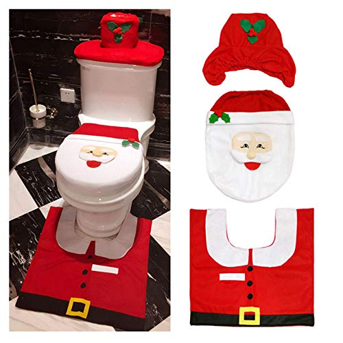 LA-BOOR Decoración De Navidad Santa WC Set, Navideñas Accesorios Funda De Asiento De Inodoro De Navidad with Tapa del Inodoro Tapa del Tanque De Agua Alfombra Cojín De Felpa