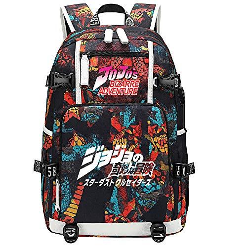GOYING JoJo's Bizarre Adventure Jonathan Joestar/Joseph·Joestar Anime Laptop Backpack Bag Travel Laptop Daypacks Lightweight Bag with USB-A
