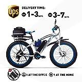 Elektrofahrrad 1000W 26-Zoll E-Bike 48V * 17Ah Li-Batterie Fatbike Herren Fahrrad Beachbike Geeignet für 165-195cm RT022 (Blau Plus)