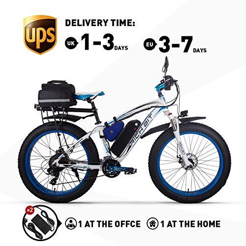 RICH BIT. Elektrofahrrad 1000W RT022 E-Bike 48V * 17Ah Li-Batterie 4.0 Zoll (10cm) Fettreifen Herren Fahrrad Strand Fahrrad geeignet für 165-195cm (Blue Plus)