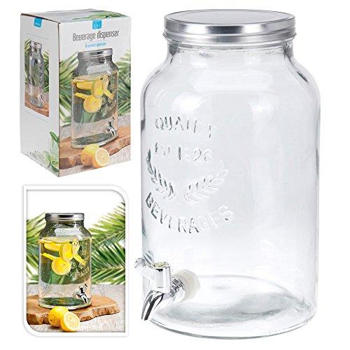 Getränkespender Bowlegefäß Rumtopf Retro, Glas mit Schraubdeckel und Auslaufhahn, ca. 5.5 l, ca. 30.5 x 18 cm