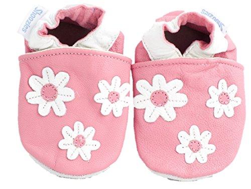 Chaussures souples pour bébé Roses/fleurs blanches