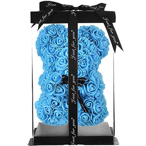 Rosen Teddybär rosen Bär Geschenke für Mutter Frauen Ihre Teen Girls Geschenke Jubiläum Mutter Geschenke,rosenbär Teddybär Rose Blumen Valentinstag teddy infinity ewige-rosenbär mit geschenkbox (blau)