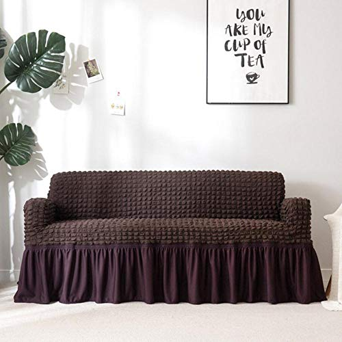 XCVBEuropean Sofa Cover Room Fauteuil Twee/Drie/Vierzits Met Rok Stretch Universele Couch Cover Meubels Hoes Voor Living, Dark Coffee