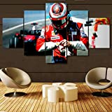 KOPASD Pared Arte de Obras de Arte Moderno Coche Ferrar F1 Fórmula Uno para Colgar Cuadros sobre El Lienzo con Bastidor(150x80cmx5pcs)