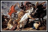 DIY 数字油絵 数字キット塗り絵 手塗り DIY絵 デジタル油絵 手芸 画材 手工芸 キット 芸術 工芸 DIY 手作り 装飾品 ホームデコレーション - The Lion Hunt by Peter Paul Rubens