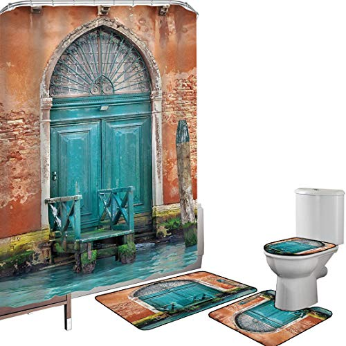 Set di tende per doccia Accessori il bagno tappeti Venezia Tappetino da bagno con tappetino per WC Costruzione antica con la città antica dell'entrata della porta su decorativo urbano storico dell'acq
