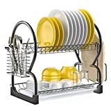 Dish Drying Rack, iSPECLE 2 Tier Dish Rack with Utensil Holder, Cutting Board