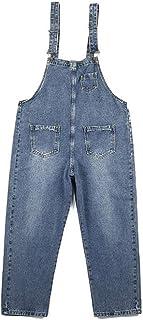 SCYDAO Peto para Hombre Jeans Denim Peto Múltiples Bolsillos del Mono,Azul,S