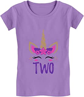 Gift for 2 Year Old Girl Unicorn 2nd Birthday Infant Girls' Fitted T-Shirt