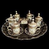 Set di piattini ottomani in ottone turco per tè e caffè, set da tè in bronzo