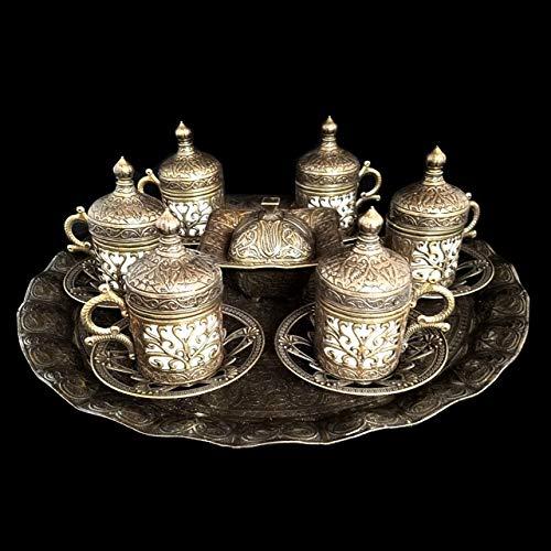 Ottoman Tee-/Kaffee-Untertassen, Tassen, Tablett, Türkische Bronze, Messing