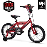 """Huffy Disney Cars Kid Bike Quick Connect Assembly, Handlebar Plaque w/ Sounds & Training Wheels, 16""""  Red"""