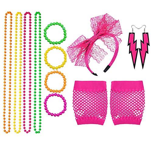 Topways® 1980s Partei Fancy Dress Zubehör Set, 80er Mädchen Frauen Night Out Party Kleid Perlen Neonhalsketten, Armbänder, Fishnet Netzhandschuhe, Spitzenschleifen Stirnband und Neonohrringe (Pink)