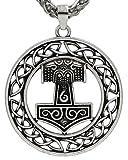 Único círculo Skane Head Viking colgante antiguo plata metal cadena escandinava Odin Wolf Thor martillo nudo collar Raven MJOLNIR colgante collar damas hombres nórdicos Celtic Rune nórdico