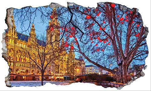 Chicbanners Vienna City 3D V101 - Adhesivo decorativo para pared (1000 mm de ancho x 600 mm de profundidad)