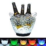 DUKWIN LED-Eiskübel aus durchsichtigem Acryl, 3 Liter, mit Farbwechsel, für Champagner, Wein, Getränke, Bierflaschen, 4 große Flaschen Bedürfnisse 2 AA-Batterien (beinhaltet keine Batterien)