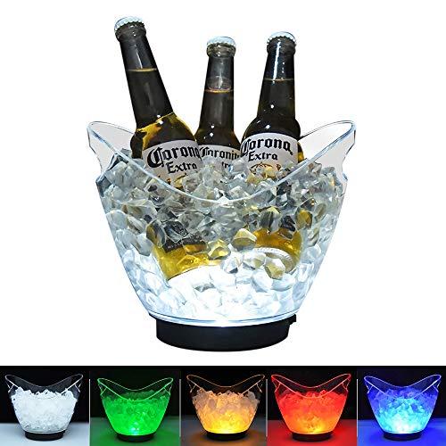 DUKWIN LED-Eiskübel aus transparentem Acryl, 3 Liter, mit Farbwechsel, für Champagner, Wein, Getränke, Bierflaschen, 4 große Flaschen Bedürfnisse 2 AA-Batterien (enthält keine Batterien)