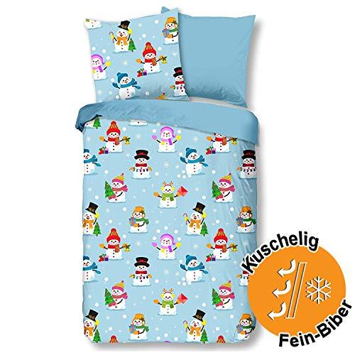 Aminata kids - Warme Biber-Bettwäsche-Set Schneemann-Motiv Weihnachten 135-x-200 cm Baumwolle, Reißverschluss, Schneemänner, Kinderbettwäsche hell-blau - Winter-Motiv