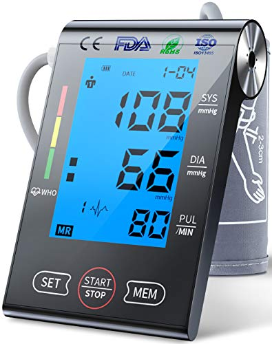 Upper Arm Blood Pressure Monitor,FDA Approved Automatic Digital BP Machine & Pulse Rate Monitoring with Large LCD Backlight,2 Users Mode,Adjustable Cuff