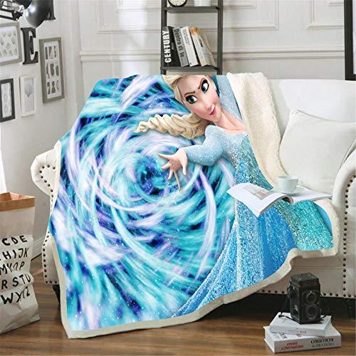 Itscominghome Disney - Manta de franela para sofá, diseño de princesa Anna y Elsa (Disney 03,130 x 150 cm)