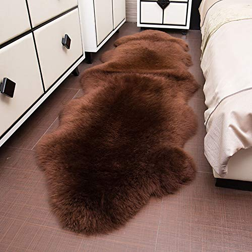 Rmckj Natural Piel De Carnero Piel Sofá Sillón Cubrir Asiento Cuero Precioso Alfombras Auténtico Australia Súper Suave Mullido Lana Alfombras,Brown-75x240cm(30x94inch)