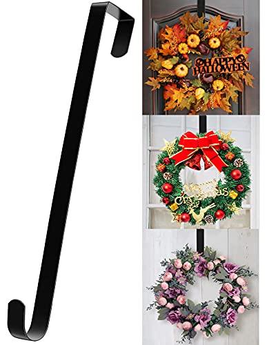 """15"""" Wreath Hanger for Front Door - Halloween Christmas Easter Decoration Metal Over The Door Single Hook Ornament Wreath Door Hanger (Black)"""