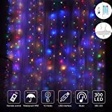 300 LED Curtain String Lights,USB Port Fairy Lights with 4 Music Control 8 Light Modes,IP65 Waterproof Colored Window Lights for Dorm Home Indoor Bedroom Christmas Decorations,9.8x9.8 Ft