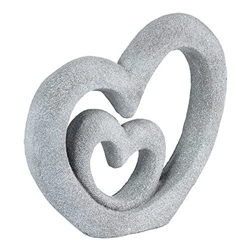 TRI Skulptur Herzen, 2 verschlungene Herzen, Deko-Herz-Skulptur Deko-Figur, wetterbeständig, Kunststein, 43 x 41,5 x 7,5 cm