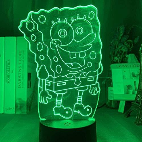 ADIS Lámpara de ilusión 3D Luz de Noche LED Bob Esponja óptica 7 Colores Que cambian con Control Remoto USB con Pilas Decoración de Dormitorio Lámpara para Dormir para niños