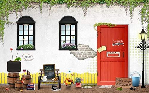 Papel Pintado Pared Barril De Vino Verde Vid Puerta Roja Fotomurales 3d Papel Pintado Dormitorio Decorativos Murales Wallpaper Fondo Decoración de Pared 150x105cm