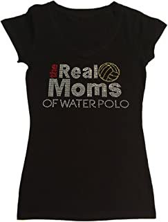 Womens Fashion T-shirt with the Real Moms of Water Polo in Rhinestones