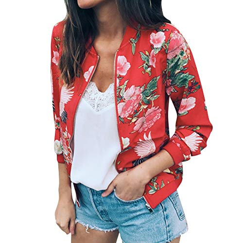 777 Womens Ladies Chinese Retro Floral Zipper Up Bomber Jacket Casual Coat Outwear Red