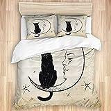 PANILUR Set di biancheria da letto in 3 pezzi con incisione a punti gatto nero seduto sulla luna Wiccan raccapricciante fauna selvatica vintage Holiday Pet Spirit Design copripiumino con fodera per f