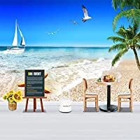 3D防水粘着壁紙パターンビーチの風景と海辺のリビングルームのカスタム装飾