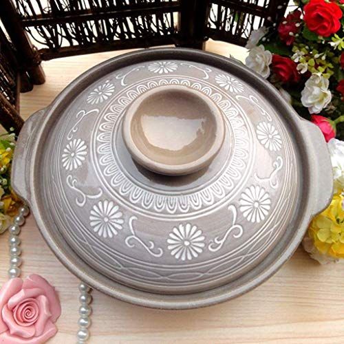 NSYNSY Keramik Steingut Topf Japanischer Hot Pot, hitzebeständiger runder Auflauf mit Deckel, Keramik Ton Ton Ton Topf, Antihaft Slow Cooker, Suppentopf, Reiskocher A 16x16x8cm (6x6x3inch)