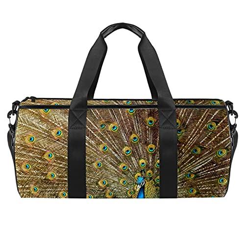 Animal Peacock Gym Bag para hombres y mujeres Bolsas de fin de semana Deportes Viaje Duffel Bolsa con bolsillo impermeable