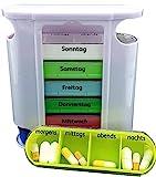 M&H-24 Tablettenbox Pillenbox Medikamentenbox für 7 Tage - Pillendose Tablettendose Wochendosierer Woche 4-Fächer Morgens Mittags Abends Nachts Mehrfarbig 1 Stück