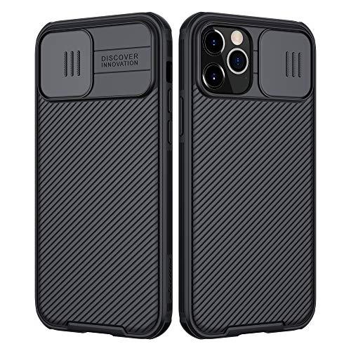 NILLKIN Funda Compatible con iPhone 12 Pro MAX, [Protección de la cámara] Estuche híbrido Parachoques Premium no voluminoso Delgado Funda rígida para PC Compatible con iPhone 12 Pro MAX 6.7'-Negro