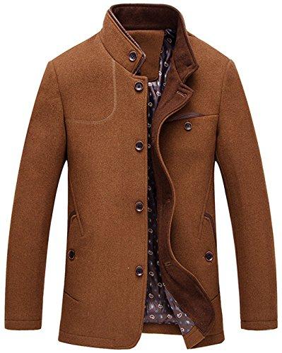 Chouyatou Men's Gentle Band Collar Single Breasted Wool Blend Pea Coat (Brown, Medium)