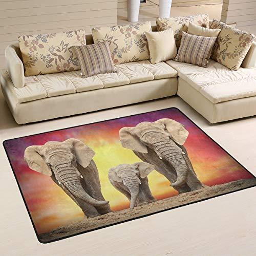 Emoya Rugs Afrikanischer Elefant Anti-Rutsch-Teppich Esszimmer Schlafzimmer Fußmatte 60 x 91 cm, Textil, multi, 60x91cm (2' x 3'feet)