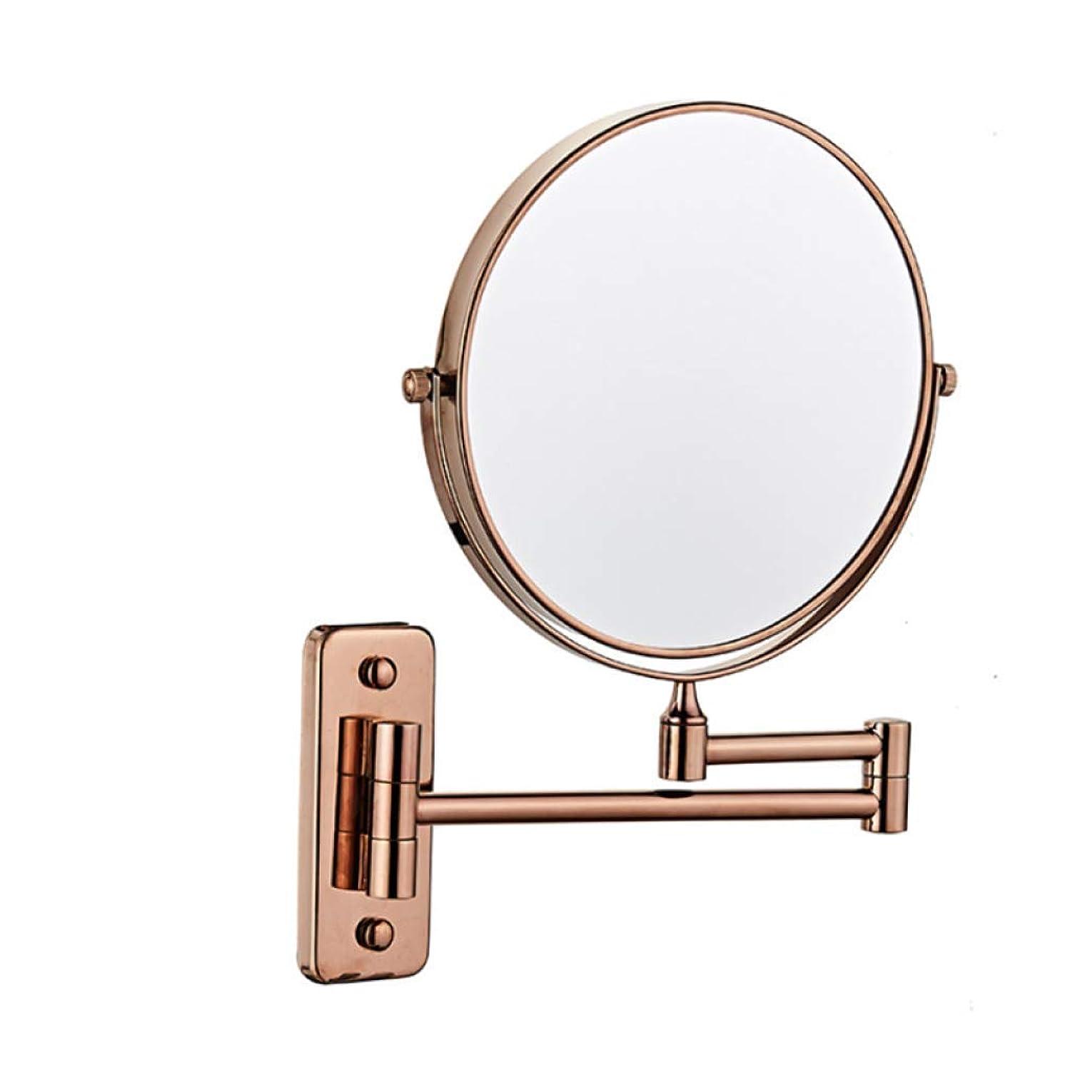 排出矢印セレナALYR 両面 化粧鏡/化粧鏡、3 ズームイン 壁掛け式 バスルームミラー 360°回転 スケーラブル 化粧鏡 ベッドルームまたはバスルームで剃る,Rose gold