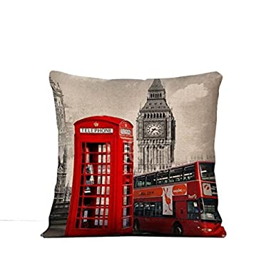 Winterworm British Style Vintage Flax Printing Pillow Cover Cushion Case For Home Bedding Car Sofa Decoration(London Decker Bus)
