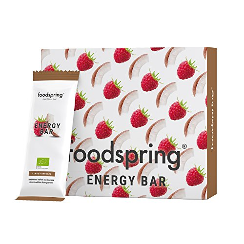 foodspring Energy Bar, Kokos-Himbeere, 12er-Paket, 12x35g, Koffein zum Kauen, Snack dich wach, 100% Bio-Qualität