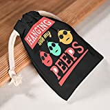 Dogedou Hanging with my Easter Canvas Bag Durable Gift Package for Travel & Slumber Parties Pack of 6, weiß, 20*25cm