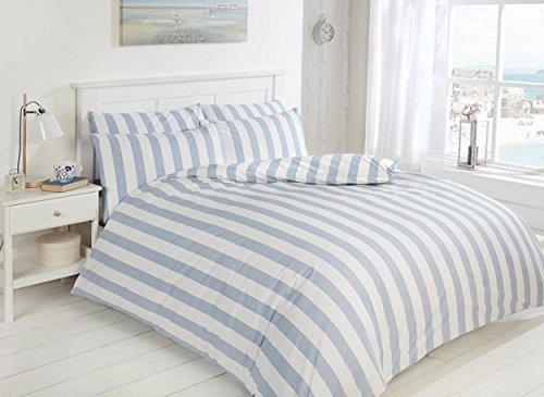 Dalbury EASY CARE Morley Stripe Bed Set, Blue and White, 200tc Duvet and Pillowcase (King)